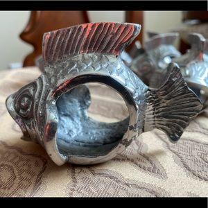 New, never used 8 silver koi fish napkin rings